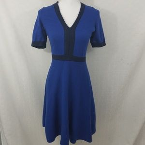 Boden short sleeve blue sweater dress v neck sz 6R